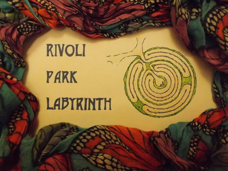 John Ridder of Paxworks: the Labyrinth Shop created the triune focus design of the Rivoli Park Labyrinth.  Logo by Susan Williams Boyles.