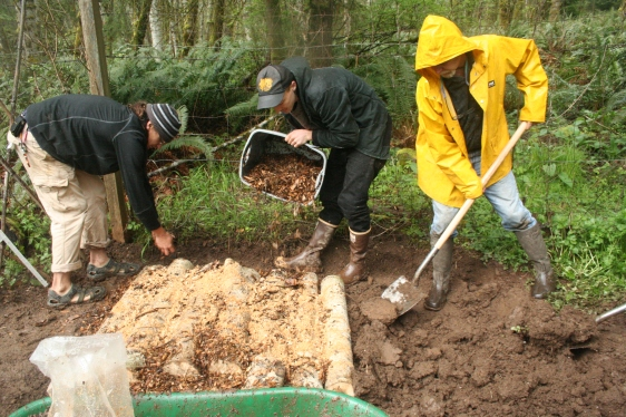 Nameko Bed installation at Demeter's Permaculture Garden in Olympia, WA