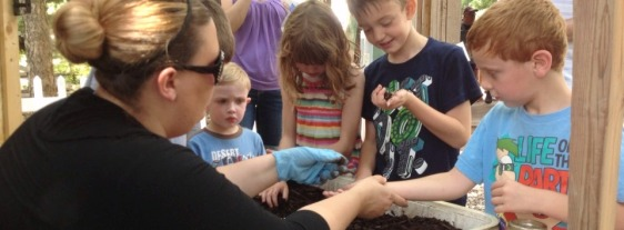 Sharing worms with youthful visitors