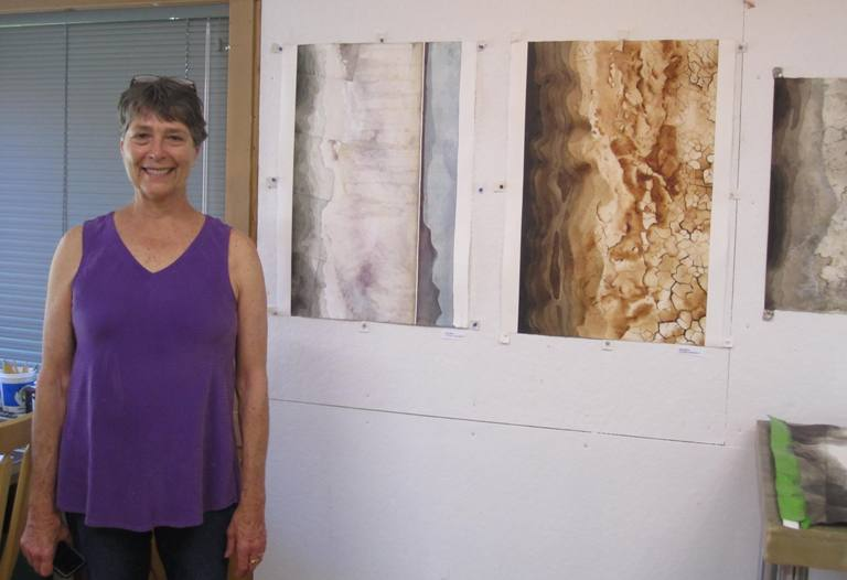 Emily and a few of her gorgeous topographical representations, based on Oregon's Summer Lake and environs.