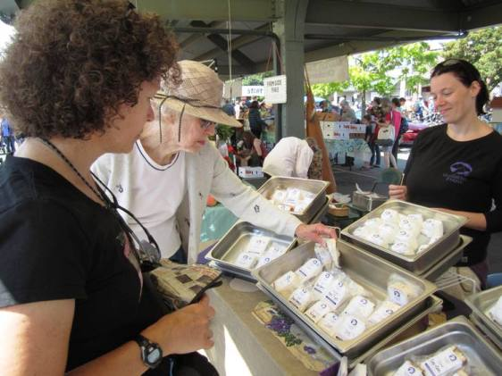 Checking out goat cheese options (that's our old friend Laurie in the foreground.)