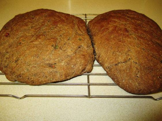 Mesquite bread, made with chili peppers and cilantro.