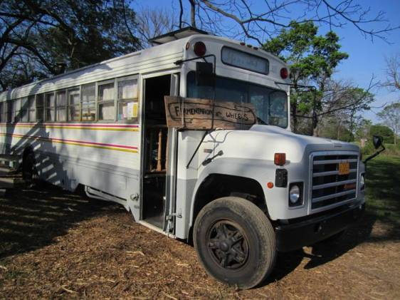 Fermentation on Wheels, a 1986 International Harvester school bus converted to a mobile fermentation lab